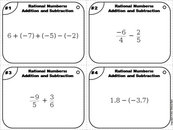 Rational Numbers Task Cards 4th 5th 6th 7th Grade: Addition and Subtraction