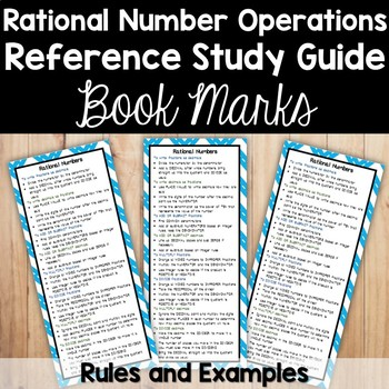Rational Numbers Bookmark - Study Guide