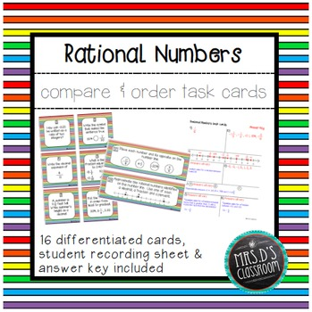 Rational Numbers Compare & Order Task Cards