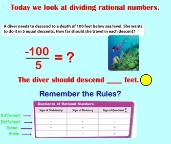 Dividing Rational Numbers Divide Division Smartboard Decimals Fractions Integers
