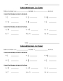 Rational Numbers Exit Ticket