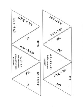 Rational Numbers Game Puzzle with Worksheet