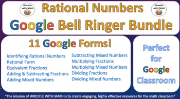 Rational Numbers – Google Bell Ringer Bundle with Student Feedback Option