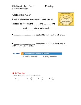 Rational Numbers Guided Notes Big Ideas Math Red: 7th Grade Chapter 2