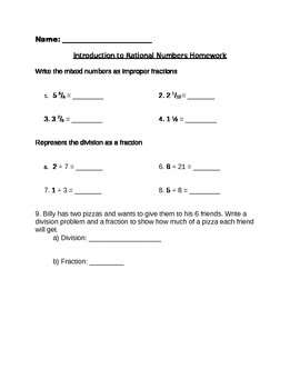 Rational Numbers Homework