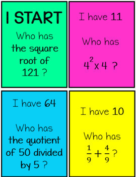 Rational Numbers I Have Who Has Game