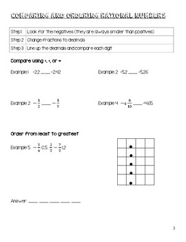 Rational Numbers In Class and Take Home Notes