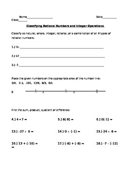 Rational Numbers (Integers and Fractions) Operations Bundle