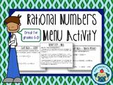 Rational Numbers - Menu Activity (Fractions, Decimals, Integers + Word Problems)
