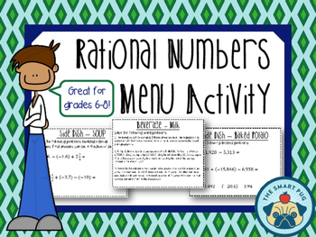 Rational Numbers - Menu Activity (Fractions, Decimals, Int