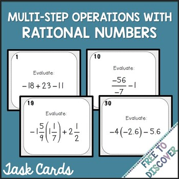 Rational Numbers (Multi-Step Operations) Task Cards