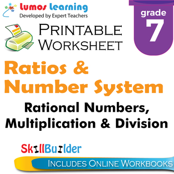 Rational Numbers, Multiplication & Division Printable Worksheet, Grade 7