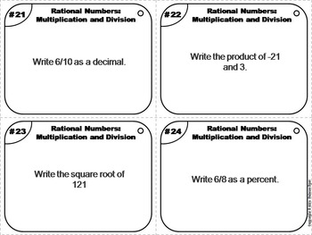 Rational Numbers Task Cards 4th 5th 6th 7th Grade Rational Numbers Operations