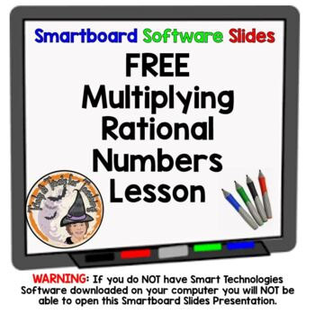 FREE Rational Numbers Multiplication Multiplying Smartboard Lesson