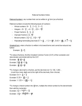 Rational Numbers Notes