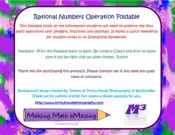 Rational Numbers Operations Foldable (Integers, Fractions,