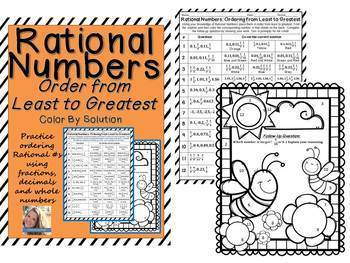 Rational Numbers: Order from Least to Greatest Color By Solution