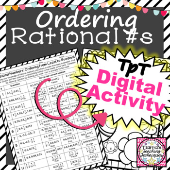Rational Numbers Order from Least to Greatest Worksheet Color By Solution