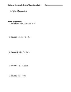 Rational Numbers & Order of Operations Quiz