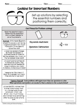 Rational Numbers Problem-Solving Lesson TEKS 7.3A and TEKS 7.3B
