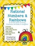Rational Numbers Review Pack with Rainbows {Fractions, Dec