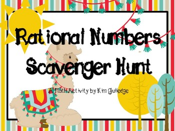 Rational Numbers Scavenger Hunt - Llama themed! 6.NS.7