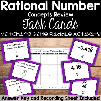 Rational Numbers Task Cards Matching Game(with riddle)