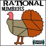 Rational Numbers Turkey Puzzle Thanksgiving +/- Decimals Fractions
