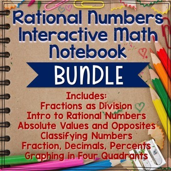 Rational Numbers Unit Interactive Math Notebook BUNDLE