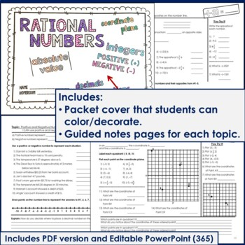 Rational Numbers Unit for Grade 6