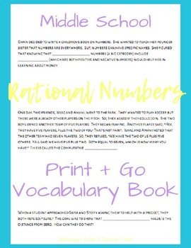 Rational Numbers Vocabulary Book