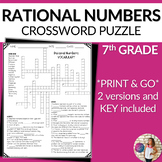 Rational Numbers Vocabulary Math Crossword Puzzle
