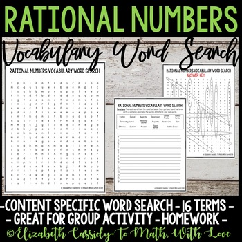 Math Vocabulary Word Search - Rational Numbers Unit