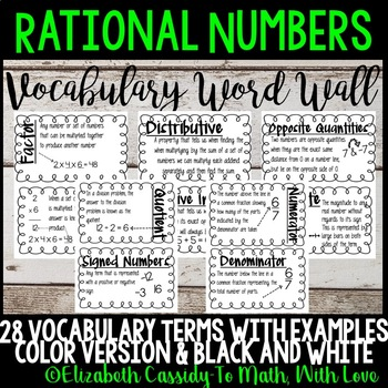 Rational Numbers-Word Wall-Vocabulary-Upper Elementary CCSS