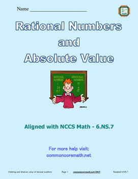 Rational Numbers and Absolute Value - 6.NS.7