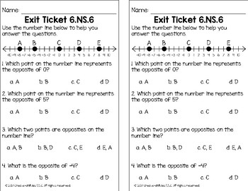 Rational Numbers and Coordinate Pairs Math Tasks and Exit Tickets