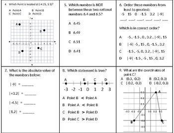 Rational Numbers and Coordinate Plane Assessment