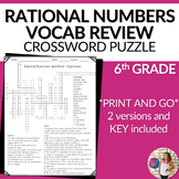 Rational Numbers and Their Opposites Vocabulary Math Cross