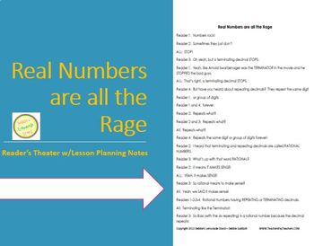 Real Numbers are all the Rage - Reader's Theater - Complete one day lesson plan