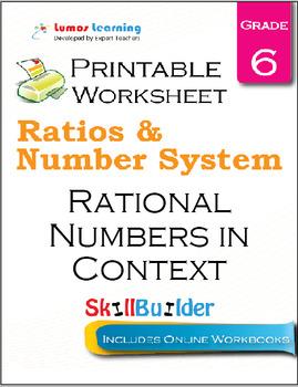 Rational Numbers in Context Printable Worksheet, Grade 6