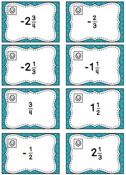 Rational Numbers on a Number Line - Task Card Activity (6.NS.6)