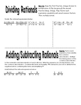 Rational Operations Graphic Organizer