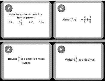 Rational Operations Task Cards