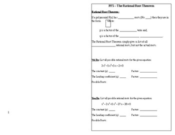 Rational Root Theorem Foldable Notes