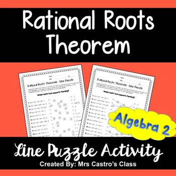 Rational Roots Theorem Line Puzzle Activity By Sine On The Line