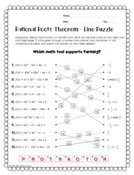 Rational Roots Theorem: Line Puzzle Activity