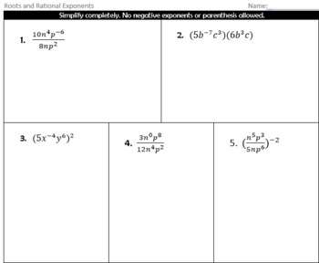 Rational Roots and Exponents Quiz