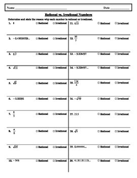 Rational Vs. Irrational Numbers Worksheet