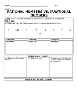 Rational and Irrational Numbers Notes