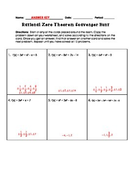 Rational Zero Theorem Scavenger Hunt